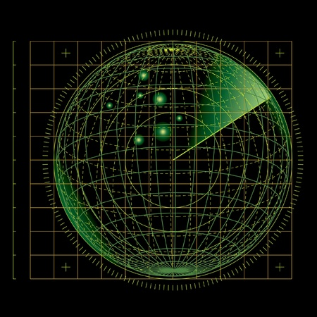 антенны: векторные иллюстрации абстрактного зеленого экрана радара Иллюстрация