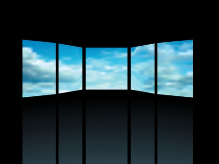 windows media video: vector interior with five screens with cloudy sky Illustration