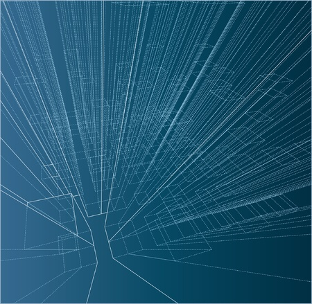 abstract drawing of the skyscrapers on blueprint Vector