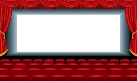 white curtain: editable illustration of the empty cinema with free bottom layer for your image Illustration