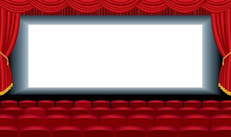 sipario chiuso: illustrazione modificabile del cinema vuota con strato di fondo gratuito per la vostra immagine