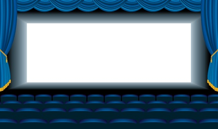 hall:  editable illustration of the empty blue cinema with free bottom layer for your image