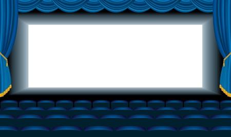 terciopelo azul: Ilustraci�n editable del cine vac�o azul con capa inferior libre para su imagen