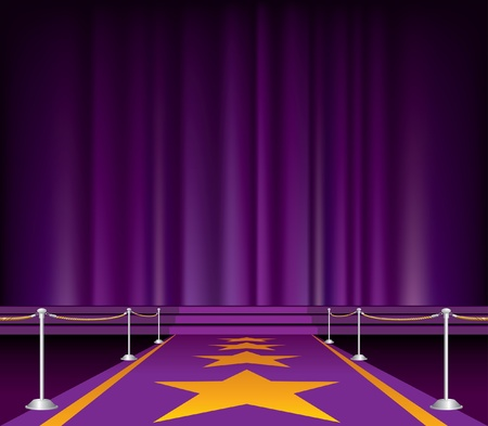 b�hnenvorhang: Illustration des lila Teppich mit Stars Illustration