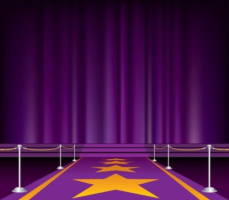 sipario chiuso: Illustrazione del tappeto viola con le stelle