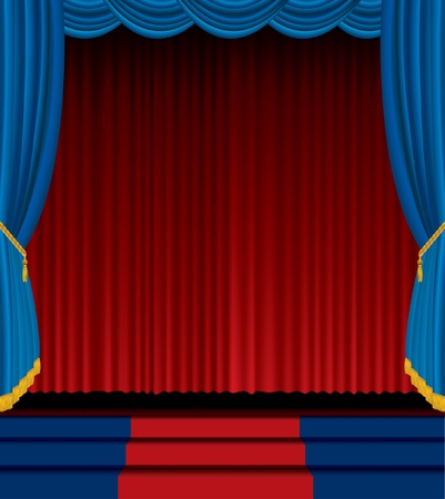 red stage curtain: Empty stage with red and blue curtain