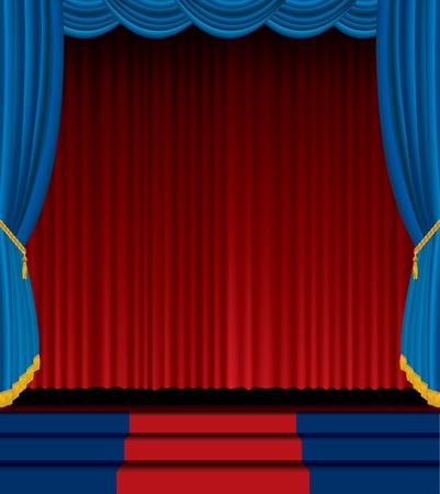 sipario chiuso: Scena vuota con la tenda rossa e blu Vettoriali