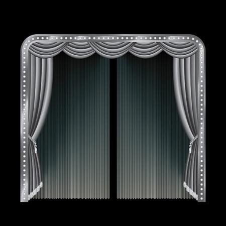sipario chiuso: illustrazione vettoriale della fase di bianco e nero