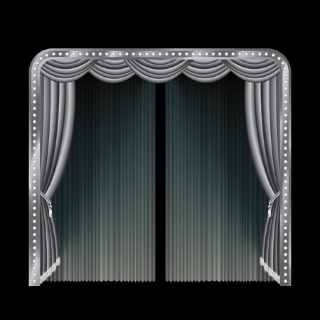 stage curtain: vector illustration of the black and white stage