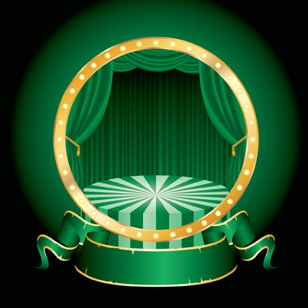 vector circle circus stage with green curtain and blank banner Vector