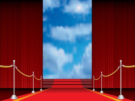 reveal: illustration of red carpet with stairs to heaven