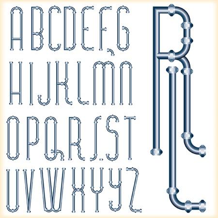 plomeria: de la fuente original del vector con tubos azules