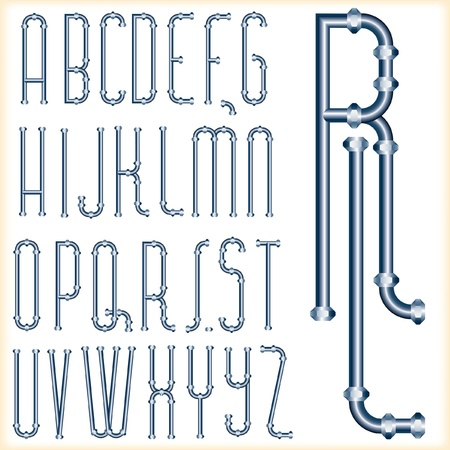 plumbing supply: original vector font with blue pipes