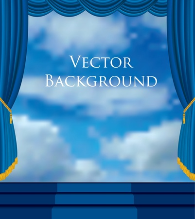 theatrical performance: vector background with stage and sky