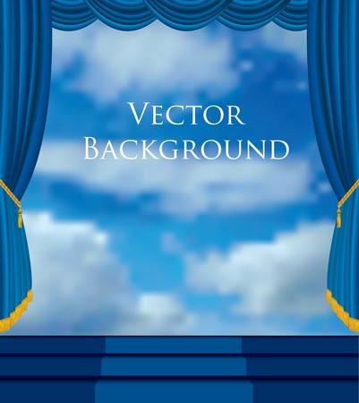 telon de teatro: vector de fondo con el estadio y el cielo