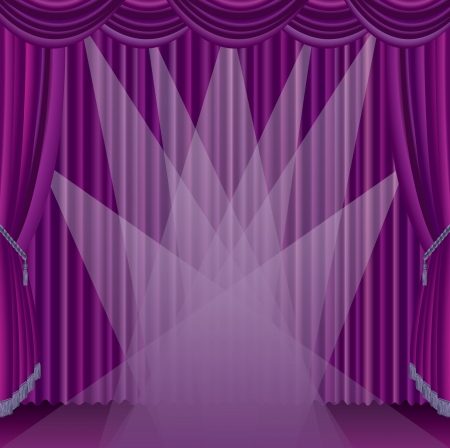 theatrical performance: vector purple stage with seven spotlights