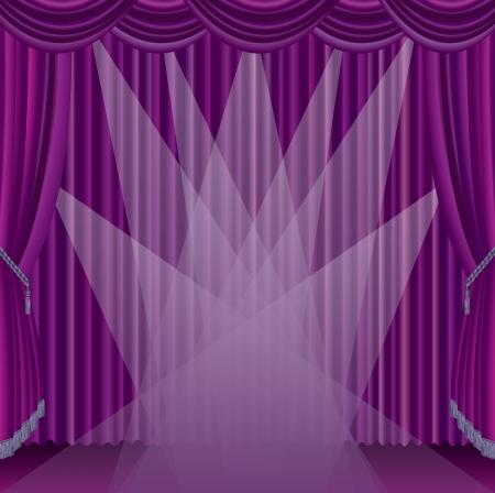 sipario chiuso: vettoriale stage viola con sette faretti