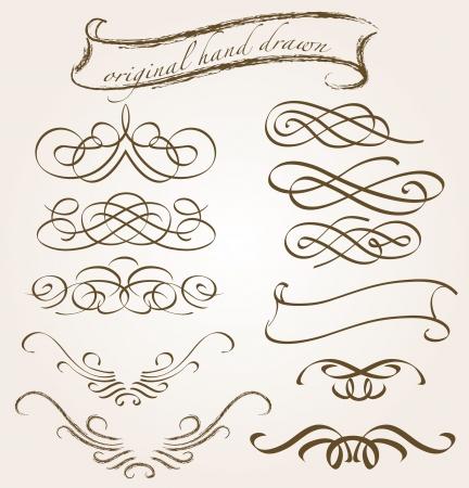 filigree swirl: set of original hand drawn vignettes Illustration
