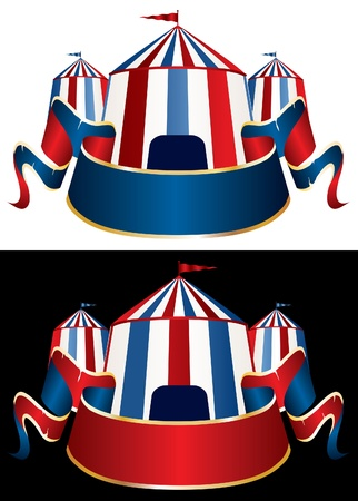 Illustration of a circus tent on black and white background Vector