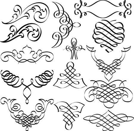 scroll design: set of original hand drawn vignettes Illustration