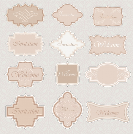 vintage labels for invitation or different use Stock Vector - 13784462