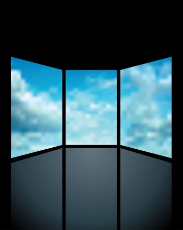 windows media video: abstract illustration with three screens with clouds
