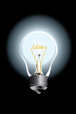 vector de la lámpara bombilla con la idea de texto