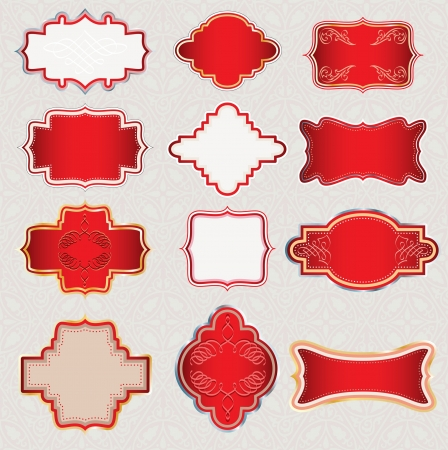 ornate red labels for different use Vector