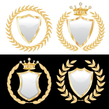 set of the white shields with golden wreath Vector