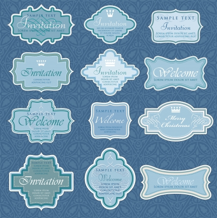 vintage blue labels for invitation or other use Vector