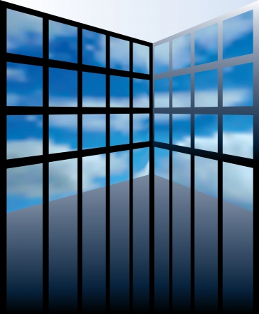 windows media video: abstract interior with cloudy screens or windows Illustration