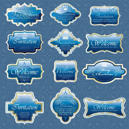 vintage blue shiny labels for invitation or other use Vector
