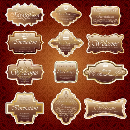 vintage chocolate shiny labels for invitation or other use Stock Vector - 13873410