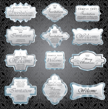 vintage silver framed invitation labels Vector