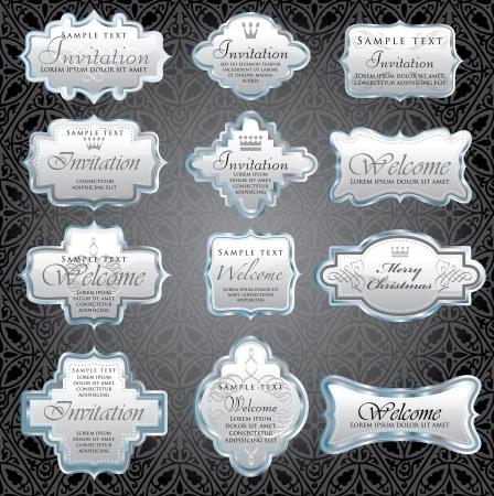 vintage silver framed invitation labels Stock Vector - 13879045
