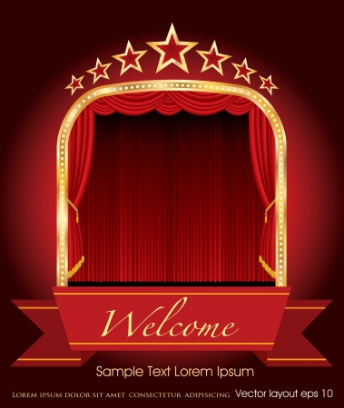curtain: red blank banner on stage with red curtain and stars Illustration