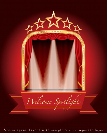 red banner on stage with three spotligts like letter w Stock Vector - 13897611