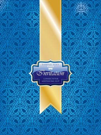 illustration with blue invitation label on golden tape