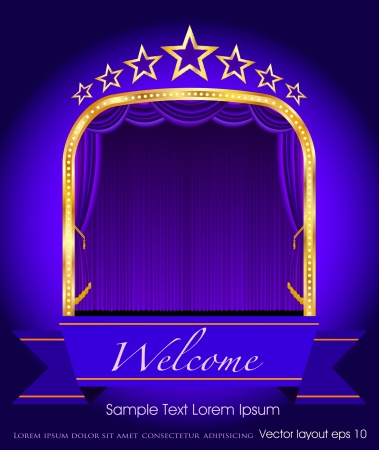 purple blank banner on stage with purple curtain and stars Vector