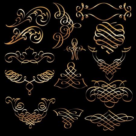 set of golden original hand drawn vignettes Stock Vector - 14131765
