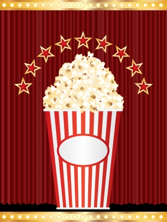 popcorn box with stars on red curtain Vector