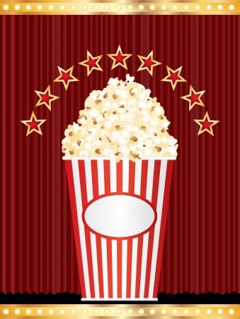 pop star: popcorn box with stars on red curtain