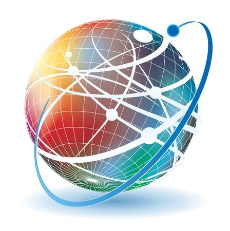通訊: 世界各地的通信抽象插圖