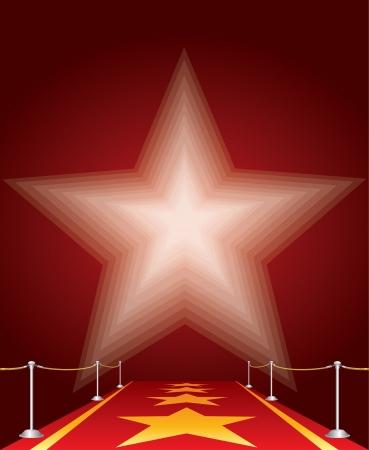broadway show: illustrazione vettoriale di stelle sul tappeto rosso