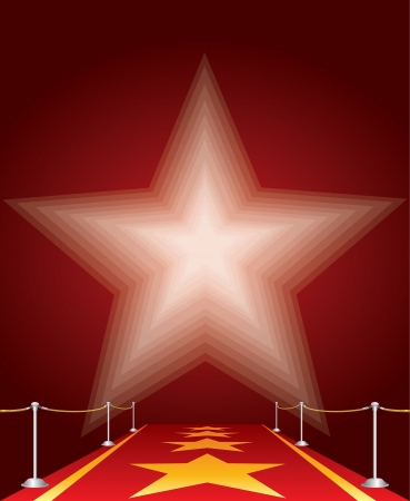 red rug: vector illustration of stars on red carpet