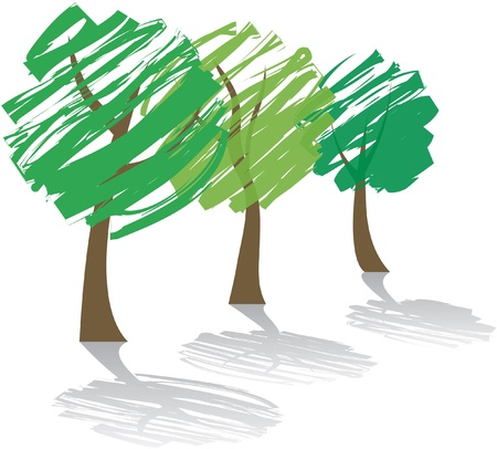 three abstract trees with shadow Vector