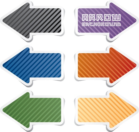 striped sticky arrows in six colors Vector
