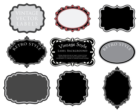 ornamental frame: set of original hand drawn vintage labels Illustration