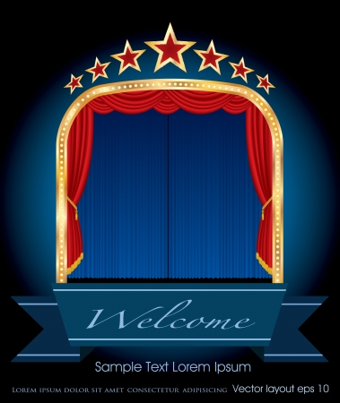 illustration of stage with red curtain and stars Vector