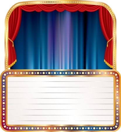 terciopelo azul: escenario vac�o con la cartelera en blanco